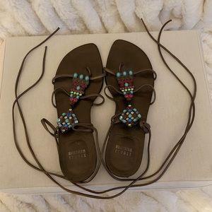 Stuart Weitzman Jeweled Gladiator Style Sandals